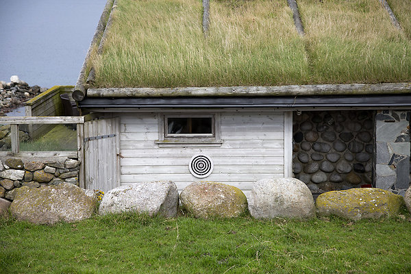 dartboard on grass roof