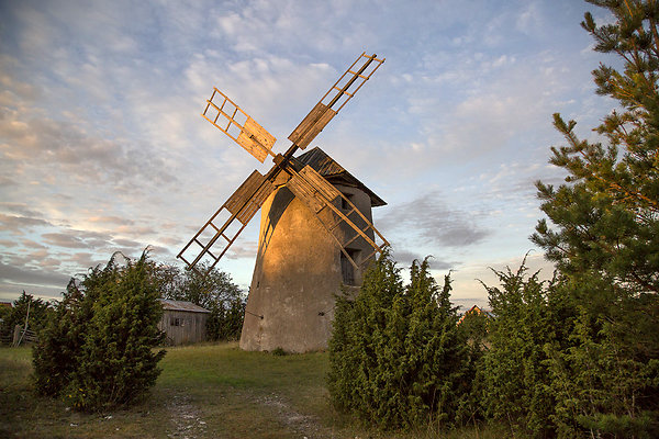 windmill at magic hour