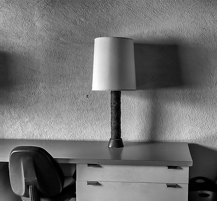lamp and chair black and white