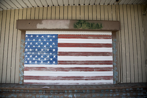 flag on wood